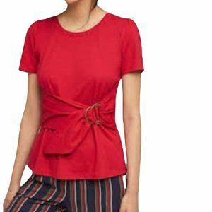 "Maeve ""Dakota""  Peplum Style Belted Top in Red"